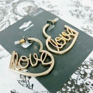 Jewelry - Open heart scripted LOVE hoop earrings